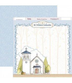 Papel scrap comunion niño iglesia