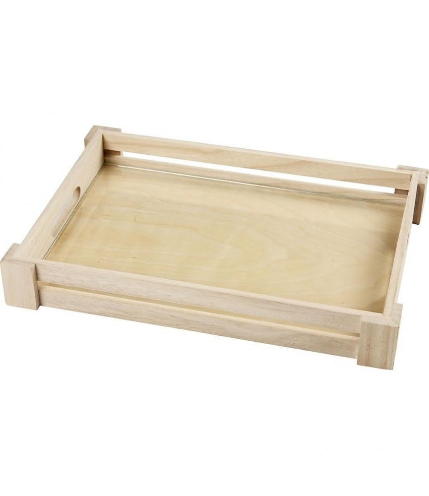 Bandeja de madera con cristal 22 x 32cm