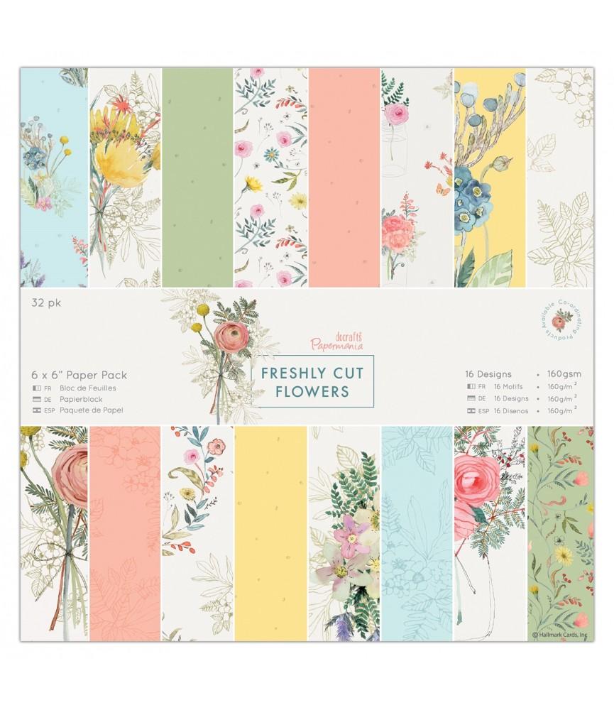 Pack 32 hojas Freshly cut flowers 6x6