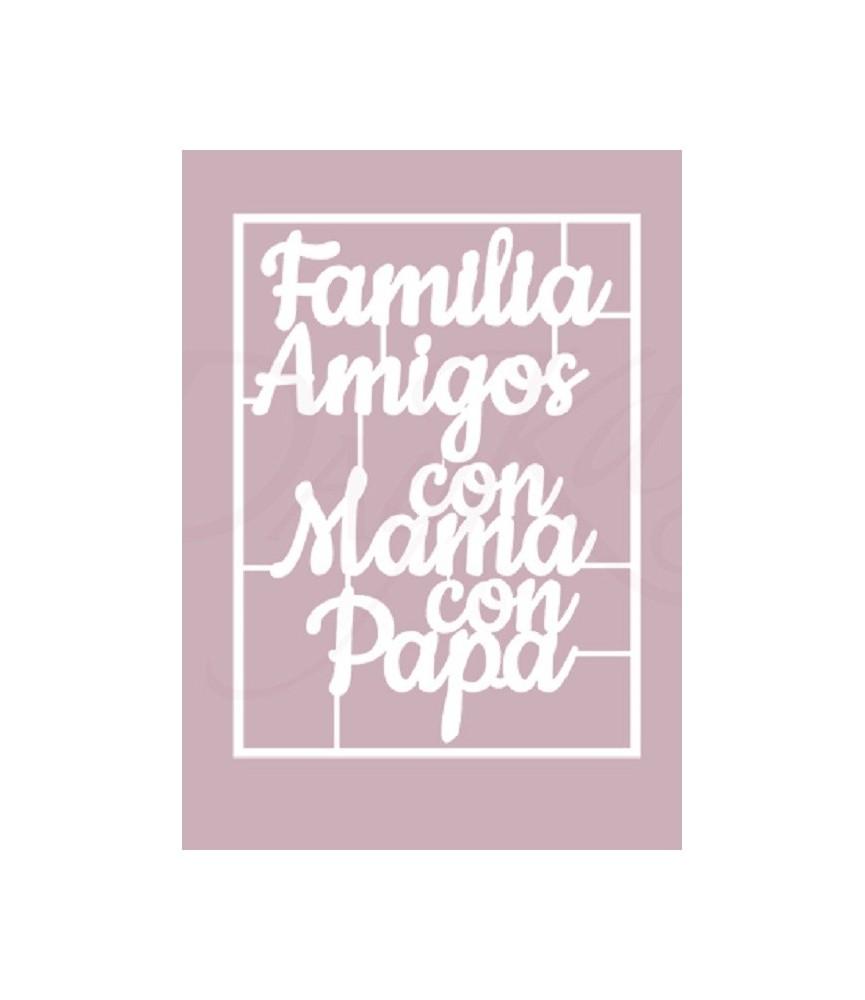 """Silueta de cartón blanco """"Familia, amigos"""""""