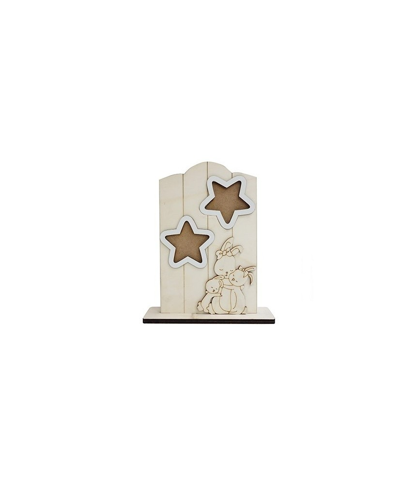 Portafotos de madera mama coneja y estrellas
