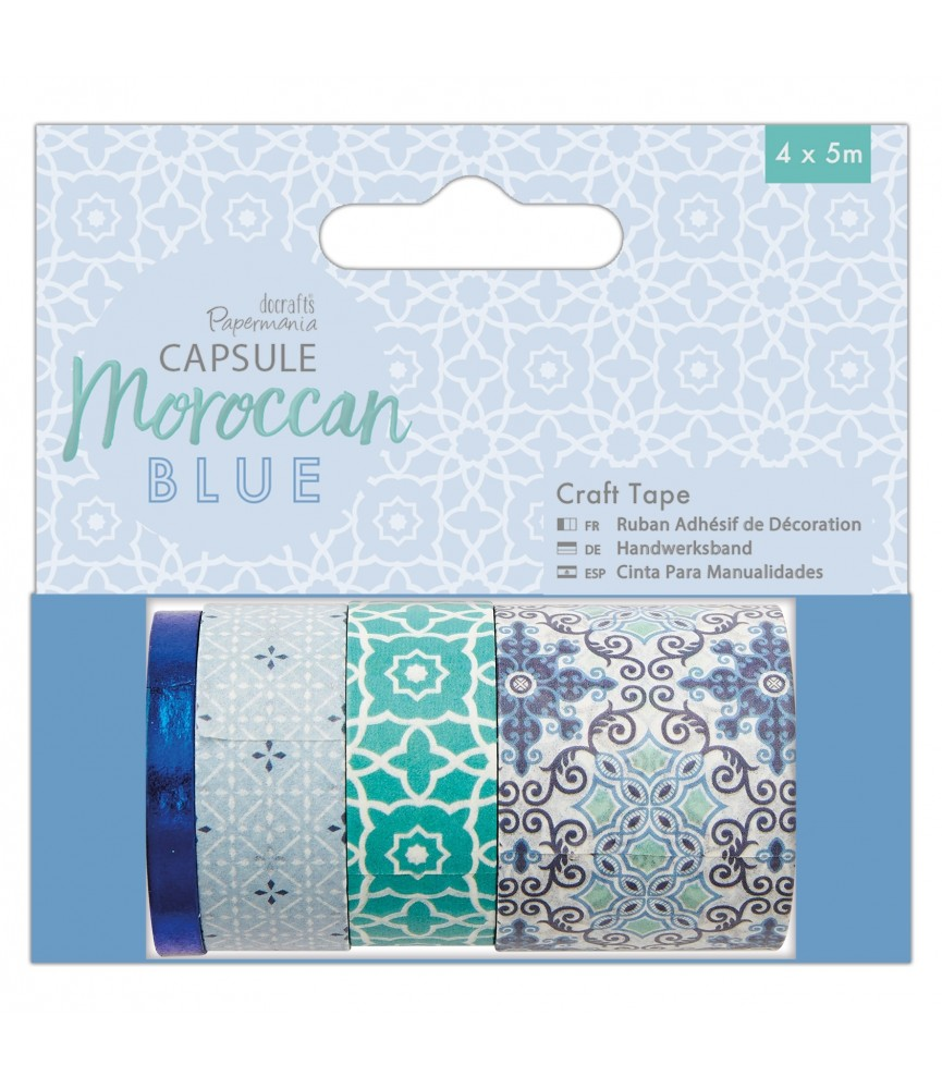 Pack 4 rollos de whasi tape Moroccan Blue
