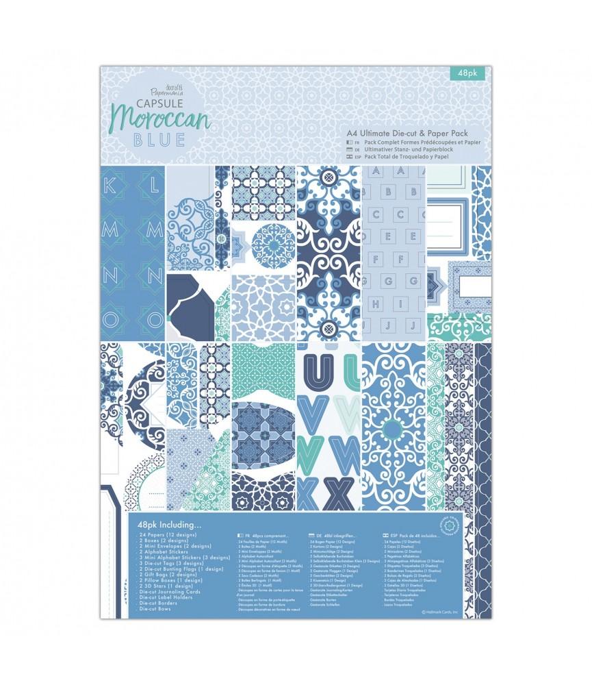 Pack completo de troquelado y papel A4 Moroccan Blue
