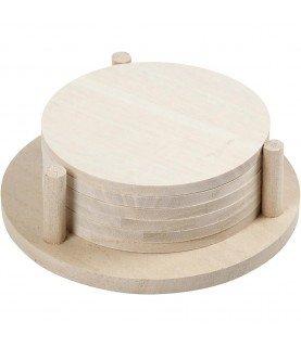Set de 6 posavasos con soporte de madera