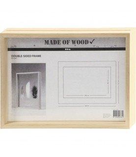 Marco doble cara A4 de madera