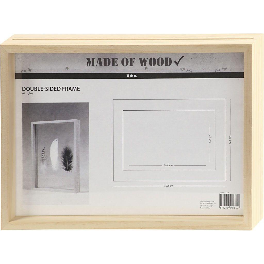 Marco doble cara A4 de madera, ideal para decor con pinturas