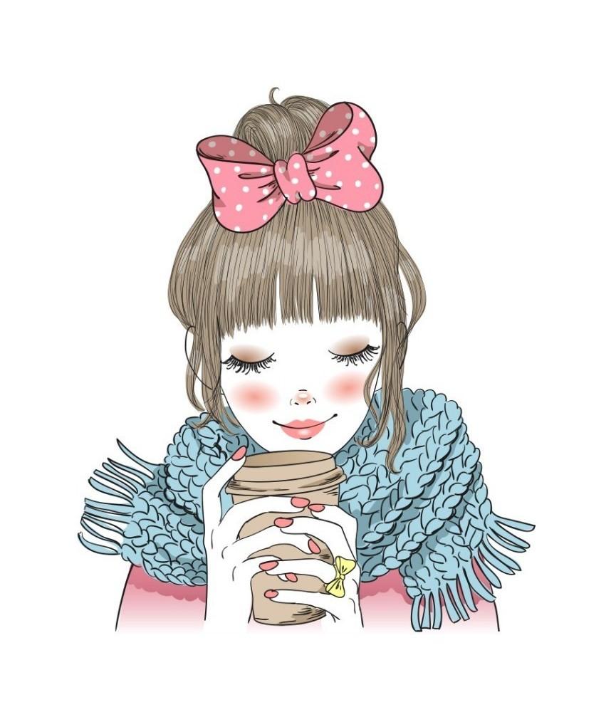"Papel sublimación 30x30cm ""girl coffee"""