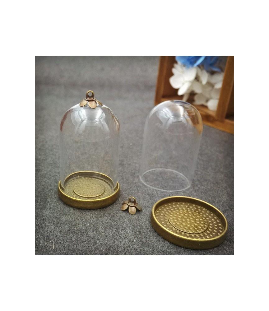 Set globo media esfera 30x20 mm con base bronce
