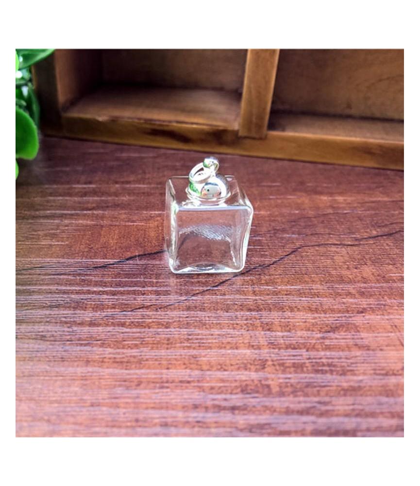Set de colgante de tarro cuadrado de cristal plata