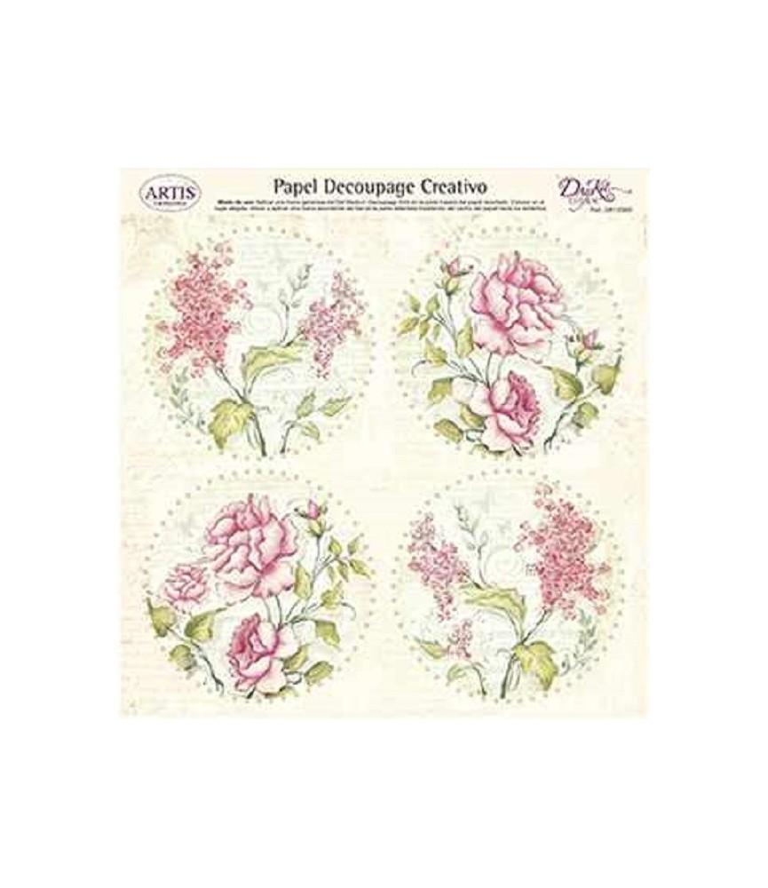 Papel decorativo para pegar flores rosas