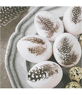 Servilleta huevos pintados plumas 33x33 cm