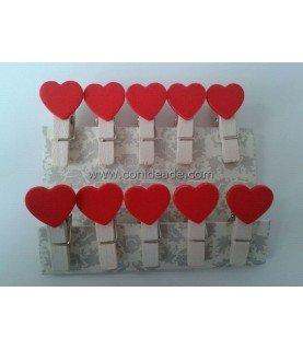 Comprar Mini pinzas de madera con corazon de Conideade