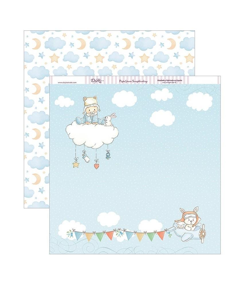 Papel scrap 30,5 x30,5 Bebe en nube