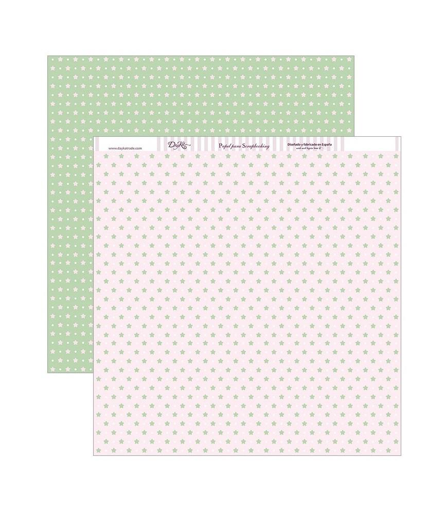 Papel scrap 30,5 x30,5 Fondo estrellas y lunares rosa