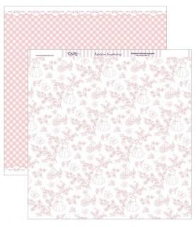 Papel scrap 30,5 x30,5 Floral con pajaritos y mariposas