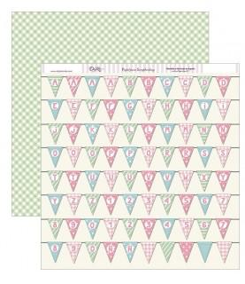 Papel scrap 30,5 x30,5 Banderines de fiesta con letras