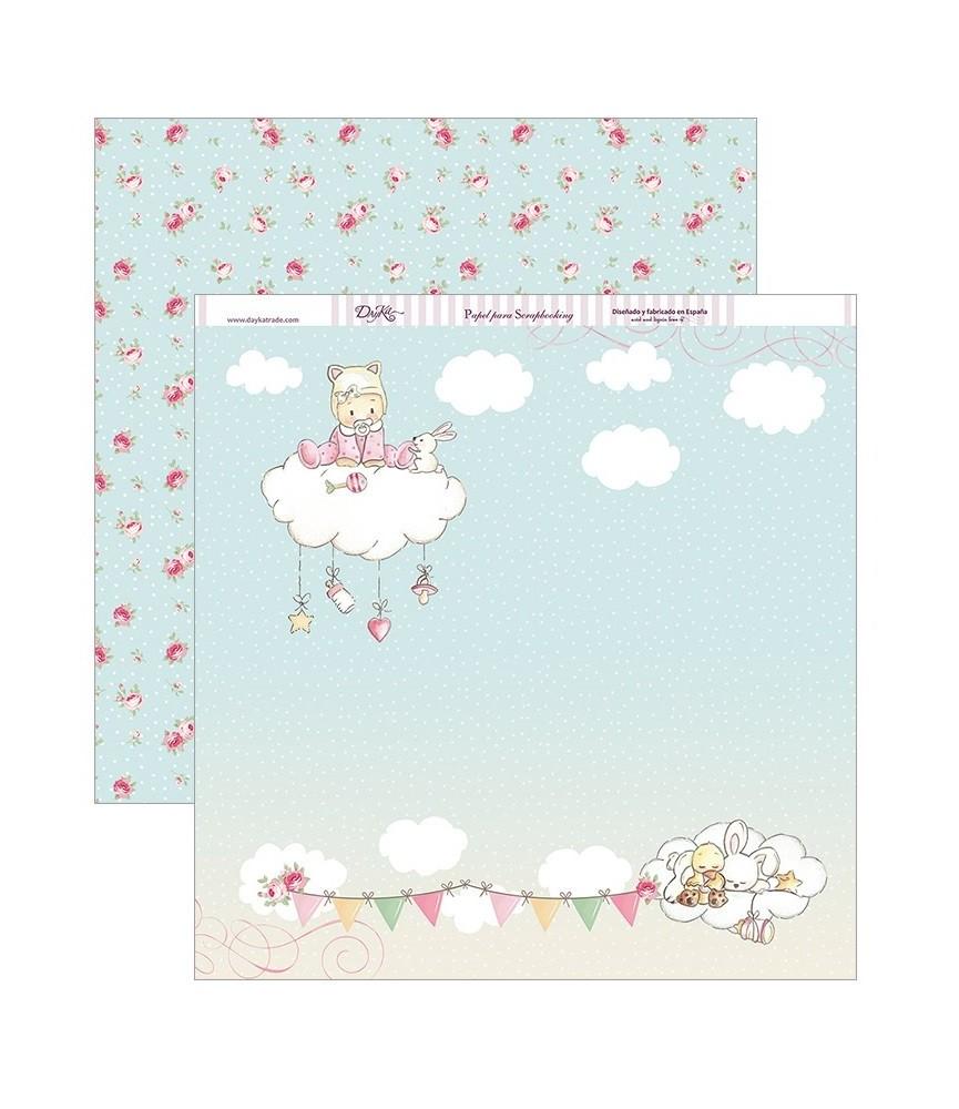 Papel scrap 30,5 x30,5 bebe en nube niña