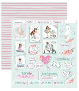 Papel scrap 30,5 x30,5 Etiquetas y frases de embarazada