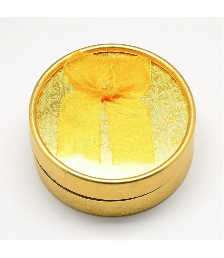 Caja para bisuteria redonda color dorada