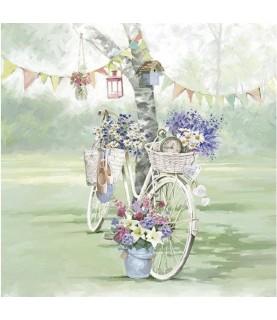 Servilleta Bicicleta de flores 33x33 cm