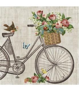 Imagén: Servilleta bicicleta con pajarito 33cm x33cm
