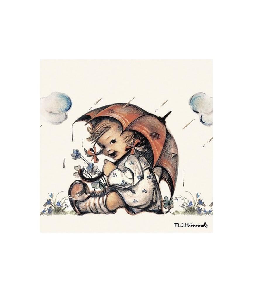 Servilleta niña paraguas 33cm x33cm