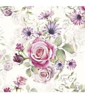 Imagén: Servilleta flores rosas 33cm x33cm