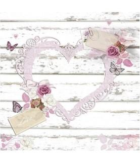Imagén: Servilleta corazón rosa 33cm x33cm