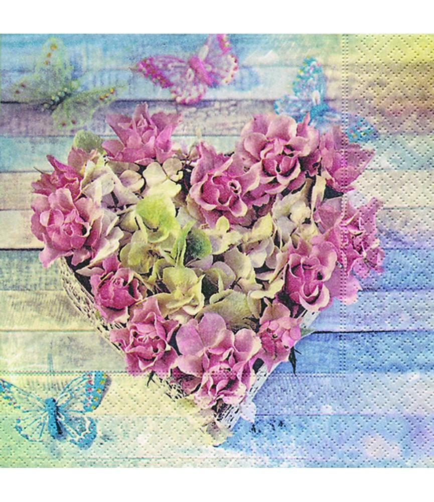 Servilleta cesta corazón rosas 33cm x33cm