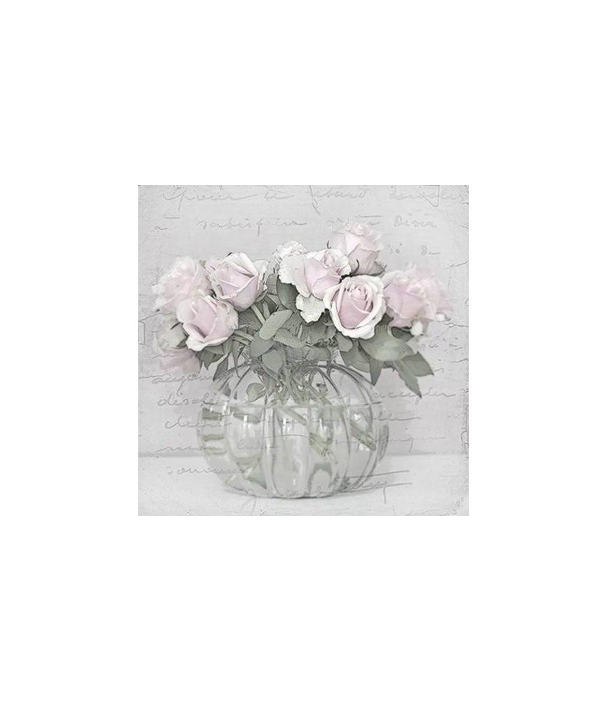 Servilleta vintage vase with roses 33 x 33cm