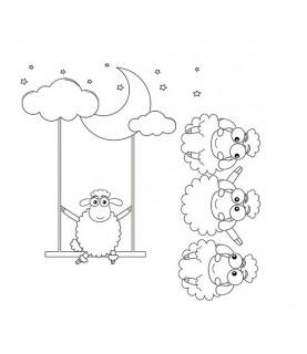 """Papel sublimación 30x30cm """"ovejitas"""""""
