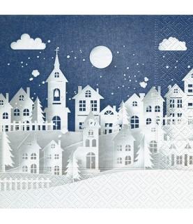 Servilleta pueblo de nieve 33x33 cm