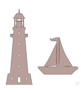 Siluetas faro y barco