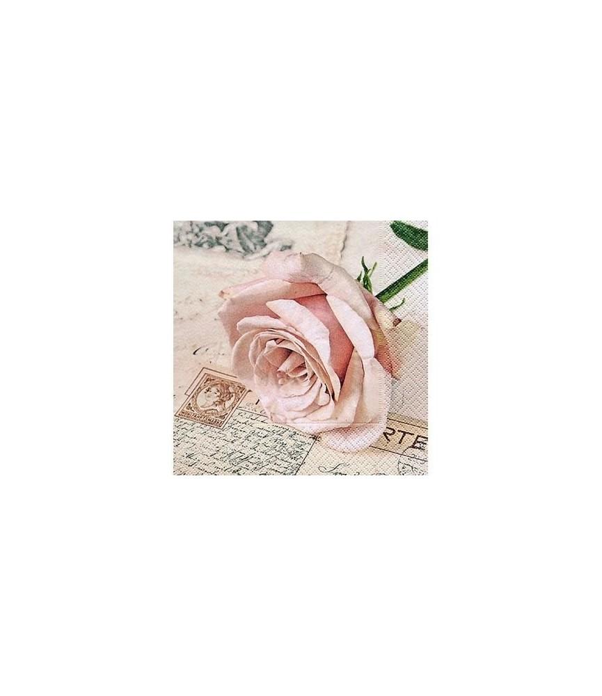 Servilleta postcard rose 33x33 cm
