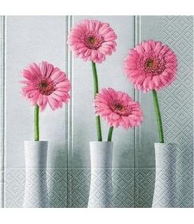 Servilleta floreros de gerveras 33cm x33cm