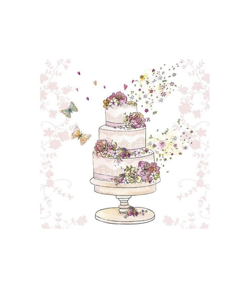 Servilleta tarta nupcial casados 33cm x33cm
