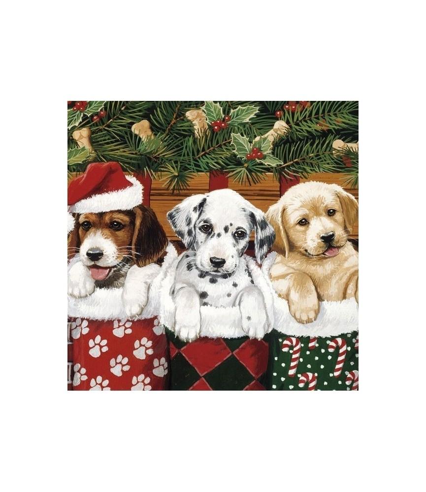 Servilleta de navidad perritos