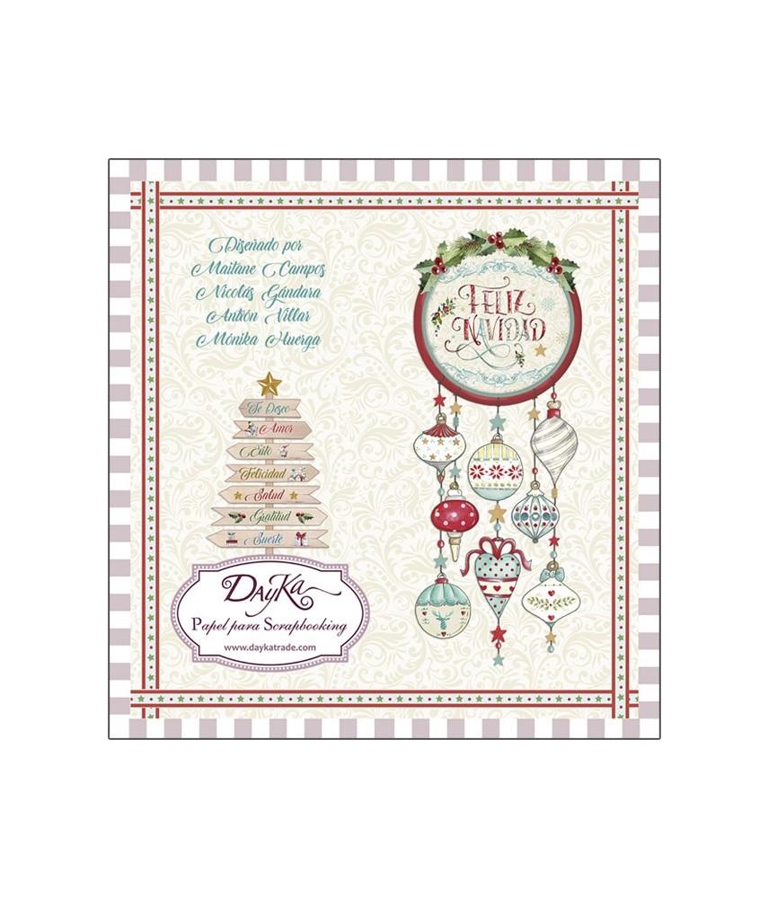Libro scrap 24 hojas Feliz navidad 20x20 cm, ideal para la navidad