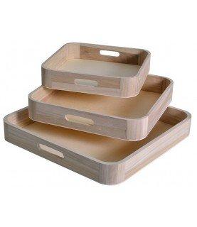 Pack 3 bandejas de madera cuadradas