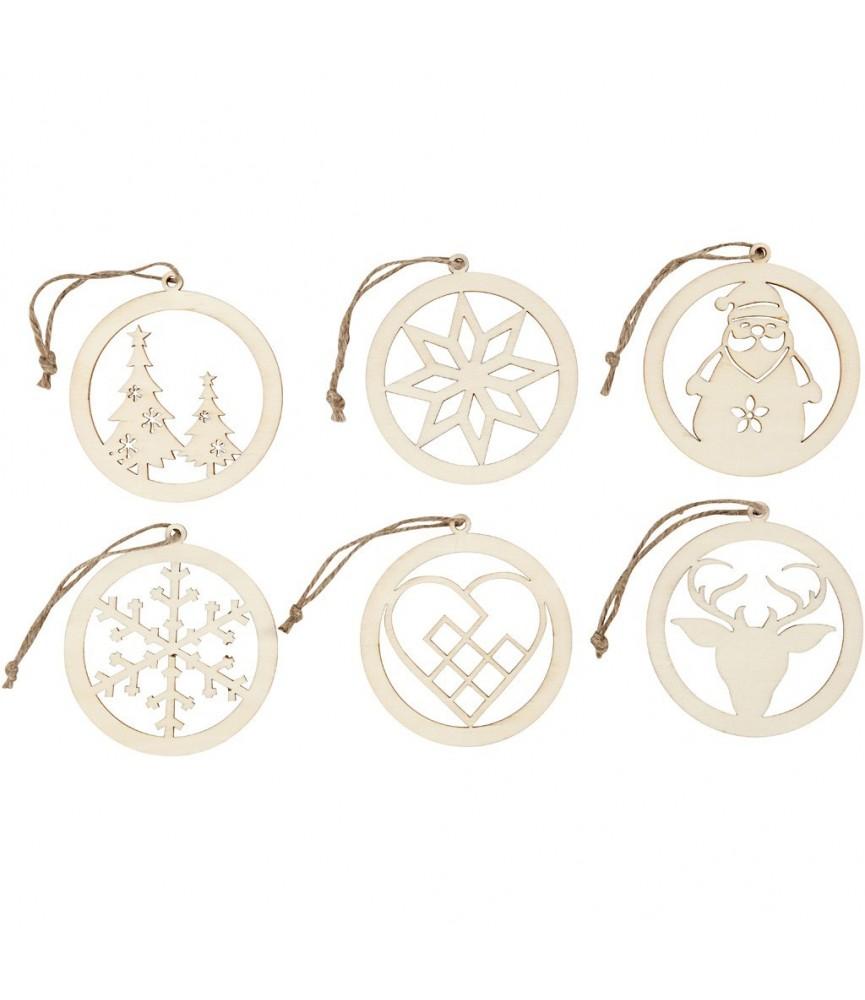 Pack 6 siluetas adornos de navidad