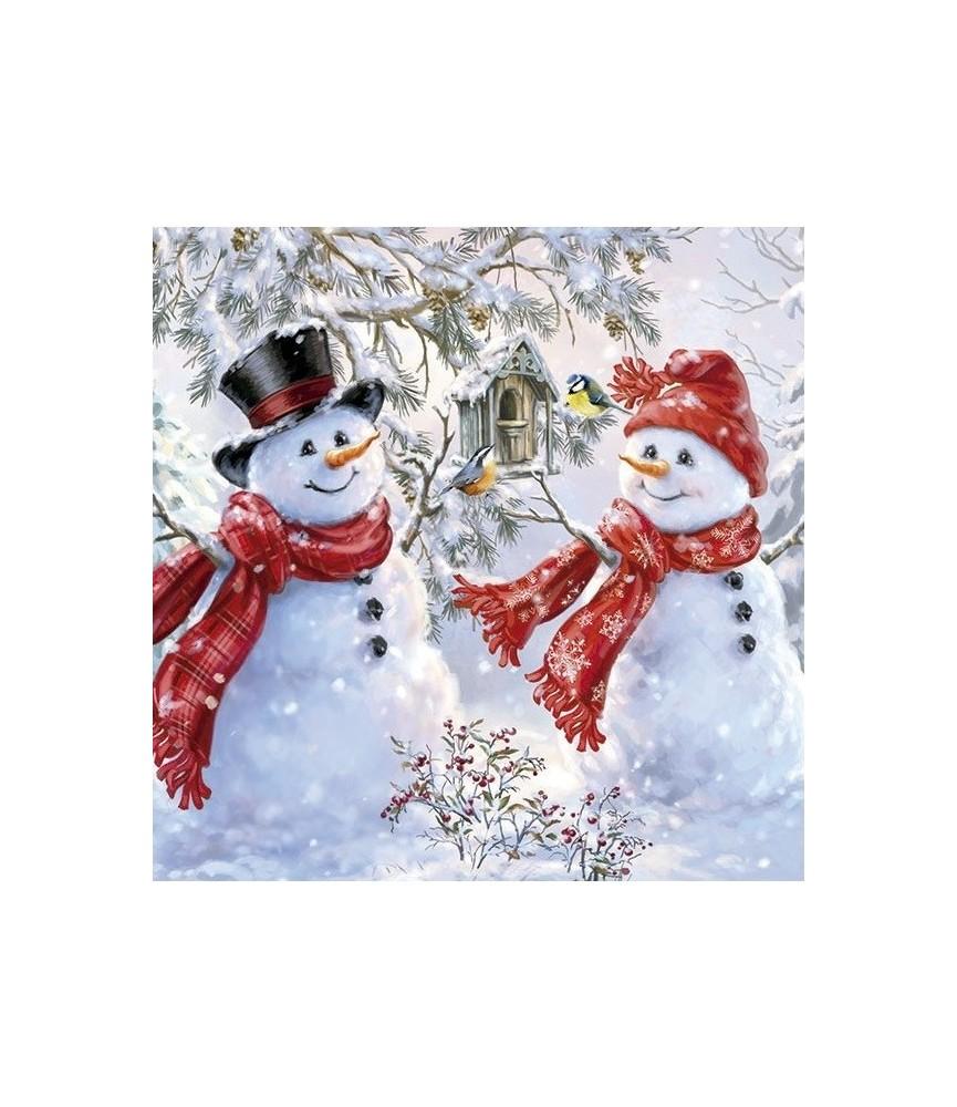 Servilleta muñecos de nieve de navidad