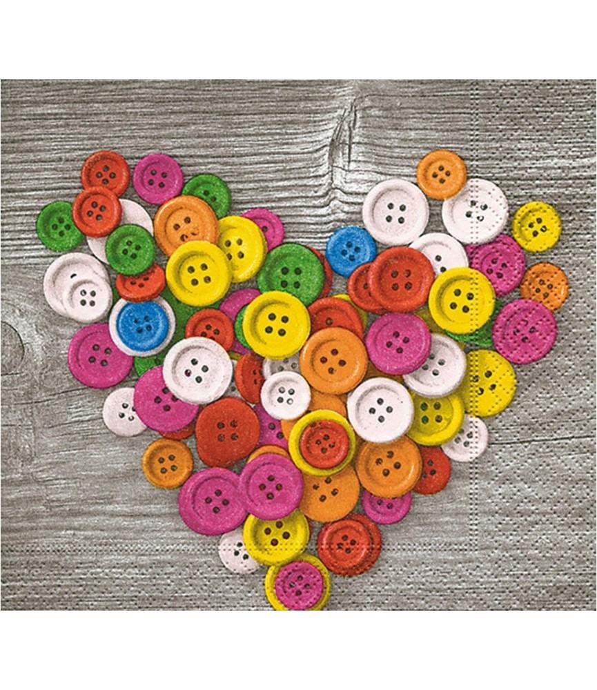 Servilleta para decoupage corazon de botones