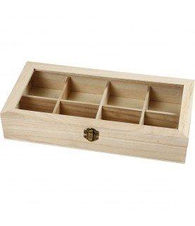 Caja de madera té con ventana
