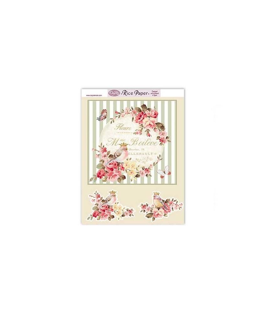 Papel de arroz textos, pajaros y flores