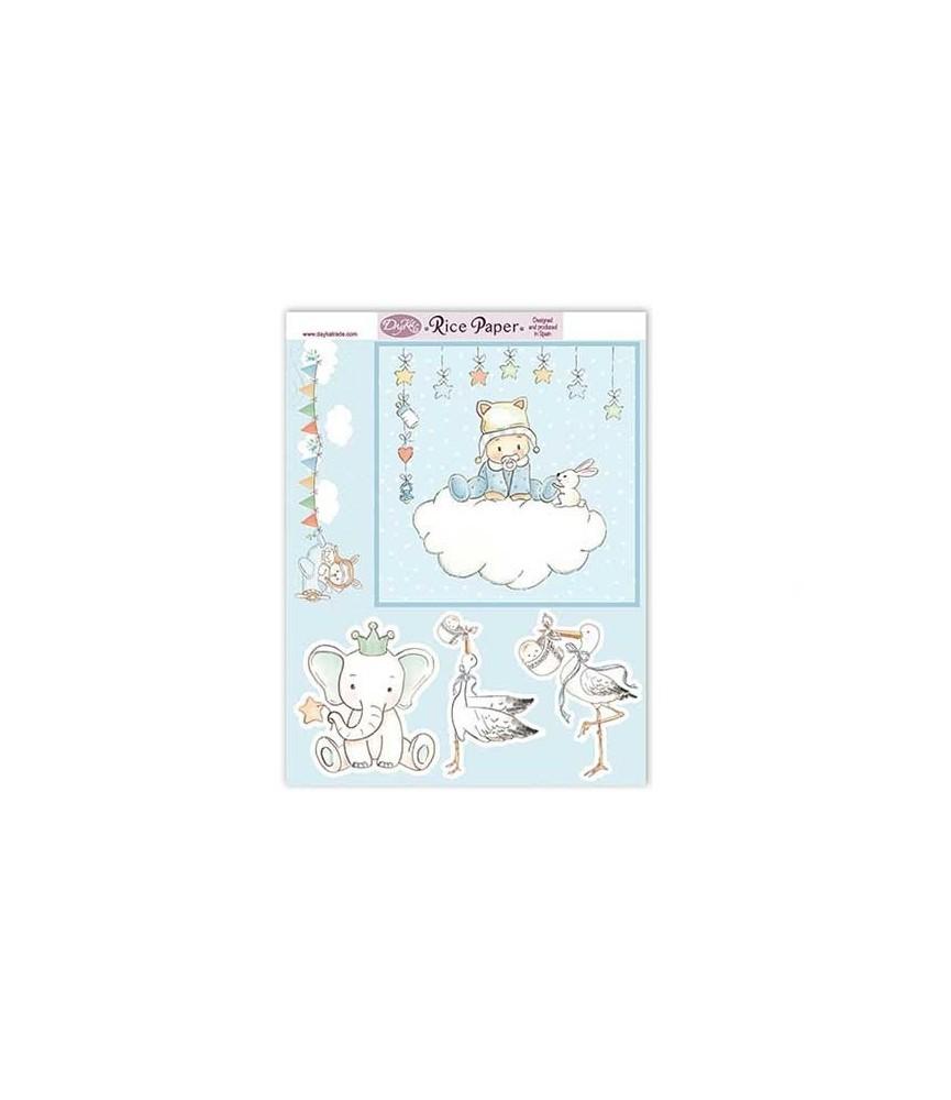 Papel de arroz Bebe niño nube