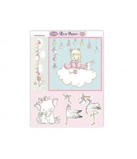 Papel de arroz Bebe niña nube