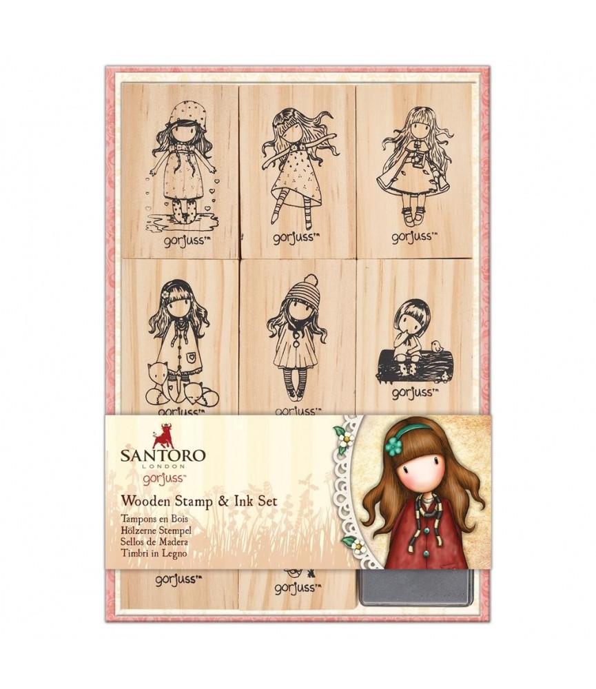 Pack de 9 sellos de madera + una tinta de gorjuss