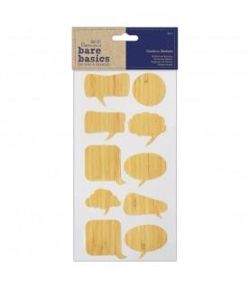 Pack 10 pegatinas de bambu en forma de bocadillo