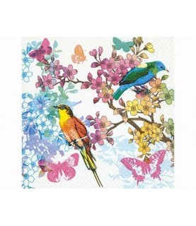 Servilleta para decorar pajaros de colores