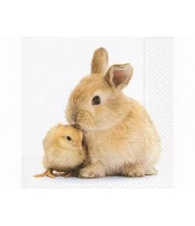 Servilleta amigos conejo y pollito